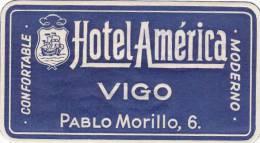 ITALY VIGO HOTEL AMERICA VINTAGE LUGGAGE LABEL - Hotel Labels