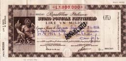 BUONO POSTALE FRUTTIFERO /  LIRE 1.000.000  - Frazionario 37/114  _ Annullato - Azioni & Titoli