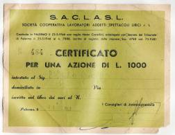 PALERMO 31.12.1953 /  S.A.C.L.A.S.L. - Società Cooperativa Lavoratori Add. Spettacoli Lirici - Azione Da Lire 1000 - Cinéma & Théatre