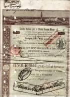 FIRENZE 1° Luglio 1887 / Soc. Italiana Per Le Strade Ferrate Meridionali - 5 Obbl. Al Portatore Di Lire 1.500 Ciascuna - Ferrocarril & Tranvías