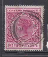 CEYLON (later SRI LANKA) 1861 Queen Victoria, 1899, ONE RUPEE FIFTY CENTS, Used GALLE - Ceylon (...-1947)