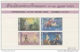 Thailand-1973 Letter Writing Week Souvenir Sheet MNH - Thailand