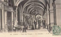 PARIS  IV  Pce Des VOSGES  Arcades Animées Commerces TABAC Eventaire En 1907 - District 04