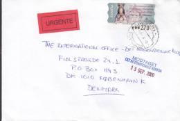 Spain URGENTE Express Label GRANADA 2000 Cover Letra To Denmark ATM / Frama Label Franking - Poststempel - Freistempel
