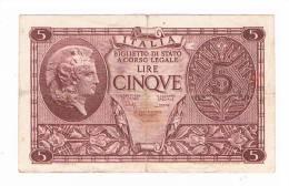 BILLET DE BANQUE 5 LIRE ITALIE - Italie