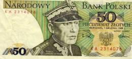 Narodowy Bank Polski - 50 Piecdziesiat Zlotych - Warszawa 1 Grudnia 1988 - Karol Swierczewski - Pologne