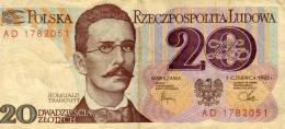 Narodowy Bank Polski - 20 - Dwadziescia Zlotych - Warszawa 1 Czerwca 1982 - Romuald Traugutt - Pologne