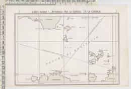 Mappe Carte Nautiche Limiti Acque Territoriali Sardegna E Corsica 1967 Dr Pioppi - Carte Nautiche
