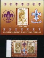 1030. PERU / PEROU (2001) - 90 ANIVERSARIO DEL ESCULTISMO PERUANO - Scout, Baden Powell, Juan Luís Rospigliosi - Peru