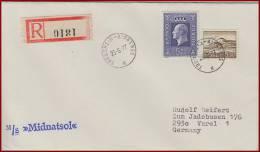 Schiffspost Norwegen M/S Midnatsol  Vom 25.6.1977  Trondheim - Kirkenes Einschreiben - Norwegen
