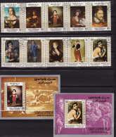UPPER YAFFA 1967  Tableaux De Maîtres Anciens Goya, Velasques, Mant, Série Complète 2 Bandes De 5 + 2 Blocs  Mi 62-71 Bl - Yemen