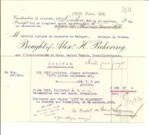 "LONDON  BOUGHT Of ALEX  H. PICKERING  Mons Bruxelles Laeken  "" CITY OF CHARLEROY"" 24.10.1922 - Royaume-Uni"