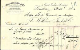 LONDON  WILLIAM JACKS & C°  Metal Merchants   25.10.1906 - Royaume-Uni