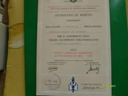 1969 Attestato Di Merito Campagna Nazionale Antitubercolare Scuola Valenzano - Diplomi E Pagelle