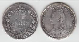 ****  GREAT BRITAIN - GRANDE-BRETAGNE - 6 PENCE 1891 VICTORIA - SILVER - ARGENT **** EN ACHAT IMMEDIAT !!! - 1816-1901: 19. Jh.