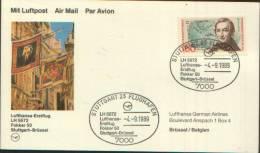 1989 LUFTHANSA-ERSTFLUG LH 5672 FOKKER 50 STUTTGART - BRUSSEL - Storia Postale