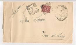 STORIA POSTALE PIEGO DA NETTUNO PER TREVI NEL LAZIO GUARCINO DEL 27 - 6 - 1892 - 1878-00 Umberto I
