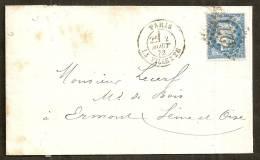 Lettre De Paris (La Villette) Pour Ermont 02-08-1872,Affr 25c N° 60 I, Oblit GC 4277 - 1849-1876: Klassik