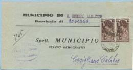 1953 LAVORO L. 6 COPPIA ISOLATA SU PIEGO COMUNE S. GIORGIO ALBANESE (COSENZA) 1.7.53 X CORIGLIANO OTTIMA QUALITÀ (5499) - 1946-.. République