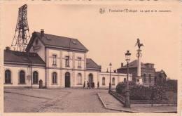 Fontaine-l'Evêque 33: La Gare Et Le Monument - Fontaine-l'Evêque