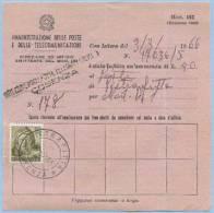 1962 MICHELANGIOLESCA L.50 ISOLATO SU MOD. 162 (AMMENDA) ANNULLO CAGLIARI CASSA LOCALE 19.5.6... VEDI DESCRIZIONE (P104) - 6. 1946-.. Repubblica