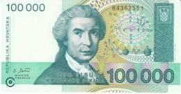 Croatia #27, 100 000 Dinara 1993 Banknote - Croatia