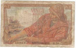 France #100a, 20-franc 1943 Banknote - 20 F 1942-1950 ''Pêcheur''