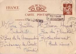 ENTIER IRIS-GRIFFE INADMIS + RETOUR ENVOYEUR - DE FONTENAY VENDDEE LE 18-12-1940 - Guerre De 1939-45