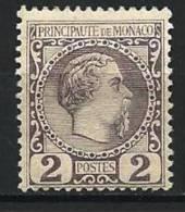 "Monaco YT 2 "" Prince Charles III 2c. Violet-gris "" 1885 Neuf* - Neufs"
