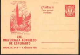 1927 Danzica Danzig Rathaus  Postal Stationery Postcarte Esperanto Trés Beau Very Fine - Esperanto