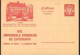 1927 Danzica Danzig Winterplatz  Postal Stationery Postcarte Esperanto Trés Beau Very Fine - Esperanto