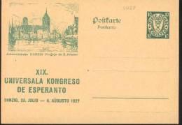 1927 Danzica Danzig Johanniskirche  Postal Stationery Postcarte Esperanto Trés Beau Very Fine - Esperanto