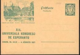 1927 Danzica Danzig Schloss  Kirche  Postal Stationery Postcarte Esperanto Trés Beau Very Fine - Esperanto