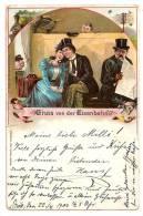 LITHO AK Gruss Von Der Eisenbahn - Liebespaar Im Zug-Abteil - 1900 Gelaufen - Gruss Aus.../ Gruesse Aus...