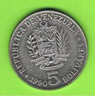 VENEZUELA -  5 Bolivar  1990   KM53 - Venezuela