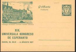 1927 Danzica Danzig Technische Hochschule Postal Stationery Postcarte Esperanto Trés Beau Very Fine - Esperanto