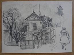 MONTMARTRE (1893) Par MAURICE FEUILLET (1873-1968) Peintre : Dessin Original Signé. - Eglise Saint-Pierre. - Autographes