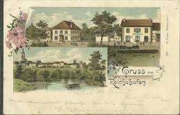 67 CPA Reichshoffen Gruss Hotel Belle Vue Gare Lithp 1899 - France