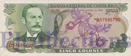 COSTA RICA 5 COLONES 1989 PICK 236d UNC - Costa Rica