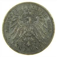 GERMANIA -  5 FUNF MARK PRUSSIA PREUSSEN 1908 A - [ 2] 1871-1918 : Impero Tedesco