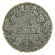 GERMANIA (Germany): 1/2 MARK 1906 E ARGENTO SILVER SILBER - [ 2] 1871-1918 : Impero Tedesco
