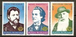 ROMANIA 1989 WRITERS SC # 3583-3585 MNH - 1948-.... Republiken