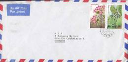 Kenya Airmail Par Avion YODER KENYA Ltd. Deluxe RUIRU 1985 Cover Brief To BANK In Denmark 1 & 3 Sh Flowers Blumen - Kenia (1963-...)