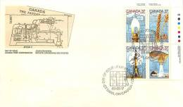1988   Science And TechnologyL Kerosene, Marquis Wheat, Electron Microscope, Cobalt Therapy  Sc 1206-9  UR Plate Block - Premiers Jours (FDC)
