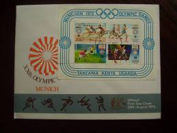 KUT 1972 MUNICH OLYMPICS MINISHEET (4 Values) On FDC. - Kenya, Uganda & Tanzania