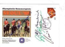 JO S�oul 1988-Jumping-Equipe(Allemagne) Timbre de Kor�e, voir signature et cachet-FDC