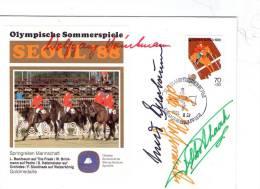 JO Séoul 1988-Jumping-Equipe(Allem Agne) Timbre De Korée, Voir Signature Et Cachet-FDC