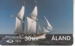 ALAND ISL.(GPT) - The Galley Albanus, CN : 2FINC, First Issue 30MK, Tirage 25000, 05/90, Mint - Aland