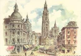 Postkaart / Carte Postale / Postcard : Aquarelle : ##ANTWERPEN / ANVERS## :  O.L.Vrouwkathedraal / Cathédrale Notre-Dame - Antwerpen