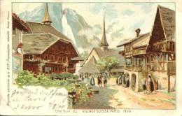 AK Schweiz 1900 Une Rue Du Village Suisse - Karte Von Der Weltausstellung In Paris 1900 - Exposition Universelle - Suisse